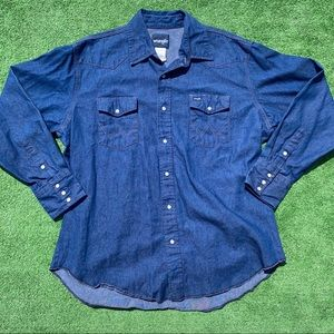 Vintage Wranglers Denim Blue Pearl Snap LS XL